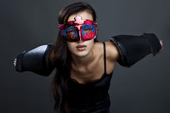 Close-up portrait of sexy woman in party mask. Royalty Free Stock Photography