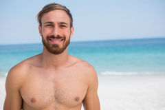 Close up portrait of shirtless man Stock Images