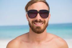 Close up portrait of shirtless man wearing sunglasses Royalty Free Stock Image