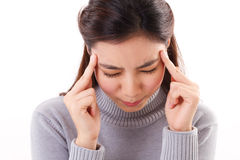 Close up portrait of sick woman with headache Royalty Free Stock Image