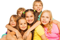 Close-up portrait of six kids Royalty Free Stock Photos