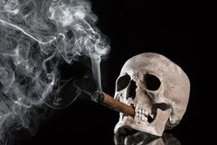 Close up portrait Skull with a cigar and smoke on black background. Health danger concept stock image
