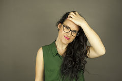 Close up portrait of smiley beautiful woman with black glasses Stock Images