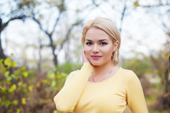 Close up portrait smiling beautiful female model  outdoor Royalty Free Stock Photos