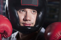 Close-up portrait of smiling boxer in headgear Stock Photography