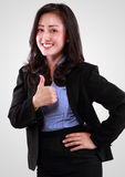 Close Up Portrait of smiling business woman in success Royalty Free Stock Photos