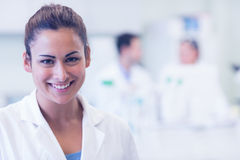 Close up portrait of smiling female doctor at medical office Royalty Free Stock Photos
