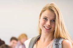 Close up portrait of smiling female student Royalty Free Stock Photo