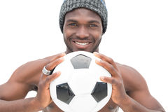Close up portrait of a smiling football fan Royalty Free Stock Photography