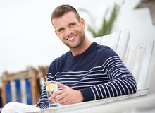 Close Up Portrait of a Smiling Man Outdoors royalty free stock image