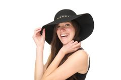 Close up portrait of a smiling woman with black hat Stock Photos