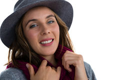Close up portrait of smiling young woman Stock Image