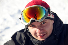 Close-up portrait of of snowboarder stock photos
