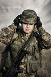 Close up portrait of soldier Stock Photography