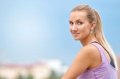 Close up portrait of sporty young fitness woman stock photos