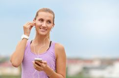 Close up portrait of sporty young fitness woman after urban run Stock Photos