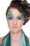 Close-up portrait of sprite girl with faceart Stock Photography