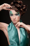 Close-up portrait of sprite girl with faceart Royalty Free Stock Image