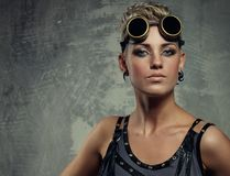 Close-up portrait of a steam punk girl. Stock Photo