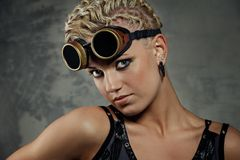 Close-up portrait of a steam punk girl. Royalty Free Stock Image