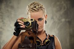 Close-up portrait of a steam punk girl Royalty Free Stock Images