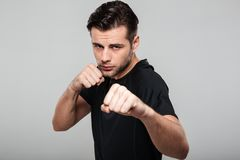 Close up portrait of a strong fit sportsman. Standing in a boxing position isolated over gray background Stock Images