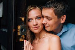 Close up portrait of stylish couple in love. stock image