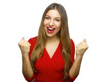 Close up portrait of stylish modern woman with raised fists up isolated on white background big eyes and wide open mouth stock photo
