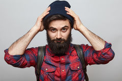 Close up portrait of stylish young man lumberjack style Royalty Free Stock Photography
