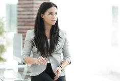 Close-up. portrait of successful business woman. Photo with copy space Stock Images