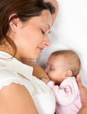 Close-up portrait of suckling baby infant and mom. Close-up portrait of  relaxed mother breast feeding her baby infant Stock Photo