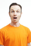 Close-up portrait of surprised amazed guy open-mouthed. Royalty Free Stock Image