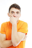 Close-up portrait of surprised amazed guy. Stock Photo