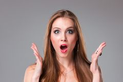 Close-up portrait of surprised beautiful girl Royalty Free Stock Photos