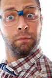 Close up portrait of surprised elegant geek in glasses Stock Photos