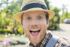 Close-up portrait of surprised gardener Stock Images