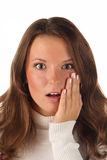 Close up portrait of surprised girl (isolated) Stock Images