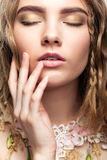 Close-up portrait of teen girl with flower necklace Royalty Free Stock Photography