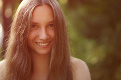 Close up portrait of teen girl with naked Stock Photo