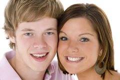 Close-Up Portrait Of Teenage Couple Stock Image