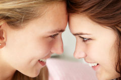 Close up portrait of teenage girls in profile Royalty Free Stock Photo