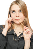 Close-up portrait of thoughtful attractive blonde Royalty Free Stock Images