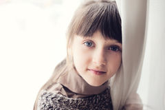 Close-up portrait of thoughtful child girl Royalty Free Stock Photos