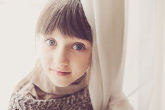 Close-up portrait of thoughtful child girl Stock Photography