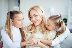 Close-up portrait of three nice cute lovely sweet adorable attractive winsome lovable cheerful cheery people pre-teen stock photo