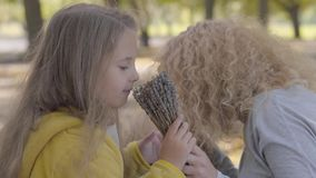 Close-up portrait of two little caucasian girls kissing their mother and sniffing flowers. Pretty blond curly woman stock video