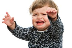 Toddler crying for attention. Royalty Free Stock Photos