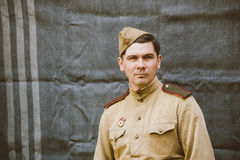 Close up portrait of unidentified re-enactor dressed as Russian Soviet Infantry Soldier Of World War II Stock Photography