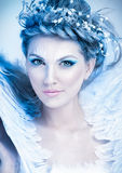 Close up portrait of winter queen. With artistic make-up Royalty Free Stock Photography