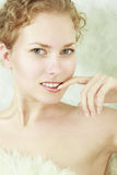 Close-up portrait of woman. Close-up portrait of caucasian young woman with beautiful green eyes stock images